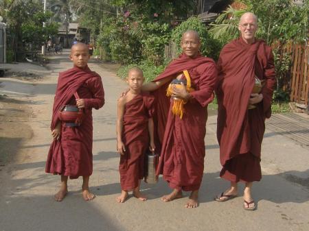 Alms Round, with Ashin Pannyasiha and novices, Yangon, Myanmar, 2010